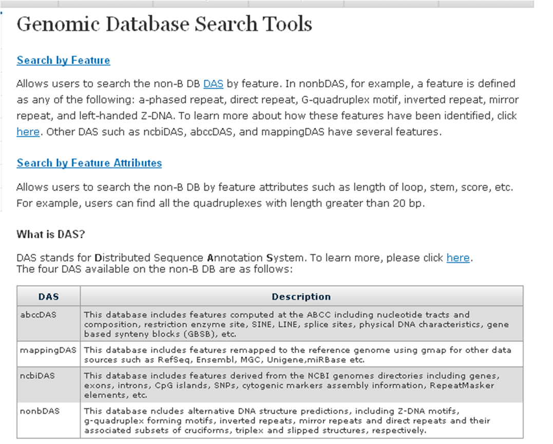 a screenshot of non-B DB Genomic Database Search Tools